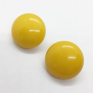 Vtg Bakelite 14K Gold Mod Clip On Earrings Yellow
